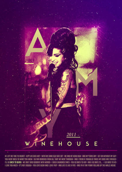 Famous People Digital Art - Amy Winehouse Back To Black Lyric by BONB Creative