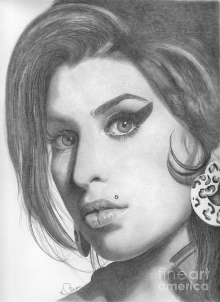 Back To Black Wall Art - Drawing - Amy Winehouse by Karen Townsend