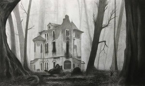 Haunted House Drawing - An Abandoned Castle by Hrishikesh Joshi