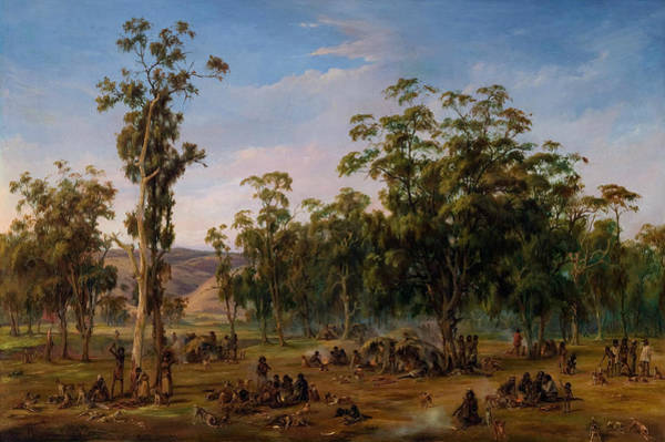 Aborigine Painting - An Aboriginal Encampment, Near The Adelaide Foothills by Alexander Schramm