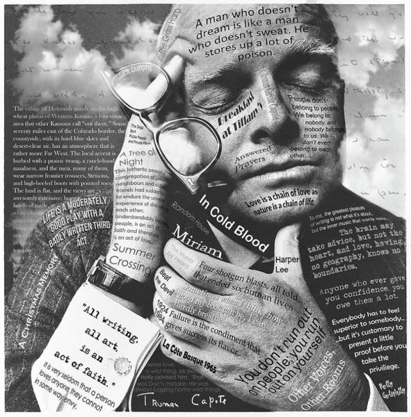 Harper Lee Wall Art - Mixed Media - An Act Of Faith, Truman Capote by Mal Bray