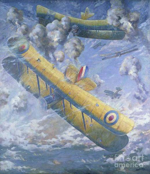 Dday Wall Art - Painting - An Aerial Fight, Wwi by Louis Weirter