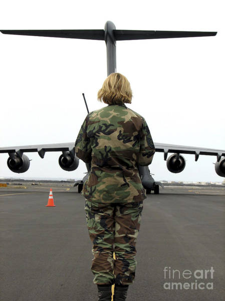 Airbase Photograph - An Airfield Manager Greets An Arriving by Stocktrek Images