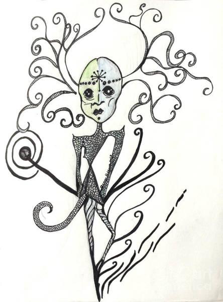 Anorexia Drawing - An Alien Encounter by Damaya Hoffman