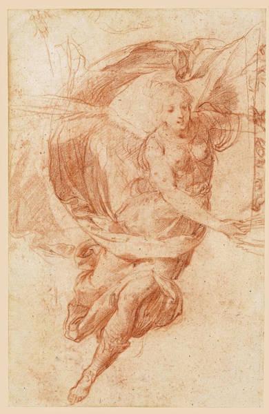 Allegorical Figure Drawing - An Allegorical Figure Of Fame by Baldassare Franceschini