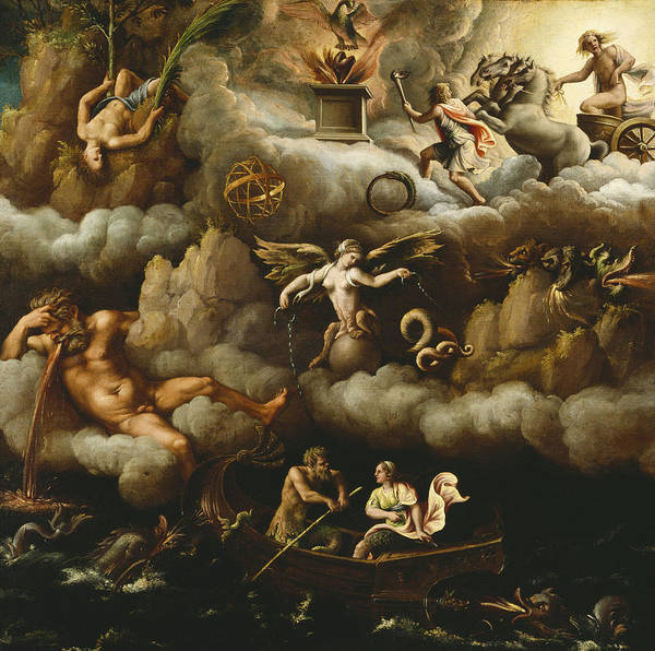 Chariot Wall Art - Painting - An Allegory Of Immortality by Giulio Romano