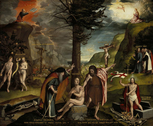 Painting - An Allegory Of The Old And New Testaments by Hans Holbein the Younger