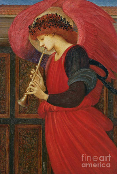 Wall Art - Painting - An Angel Playing A Flageolet by Sir Edward Burne-Jones