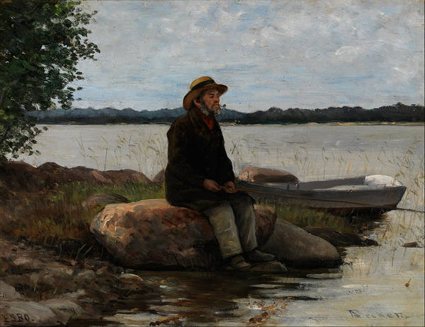 Angler Art Painting - An Angler Ca. 1890 by Adolf Von Becker
