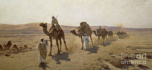 Wall Art - Painting - An Arab Caravan by Ludwig Hans Fischer