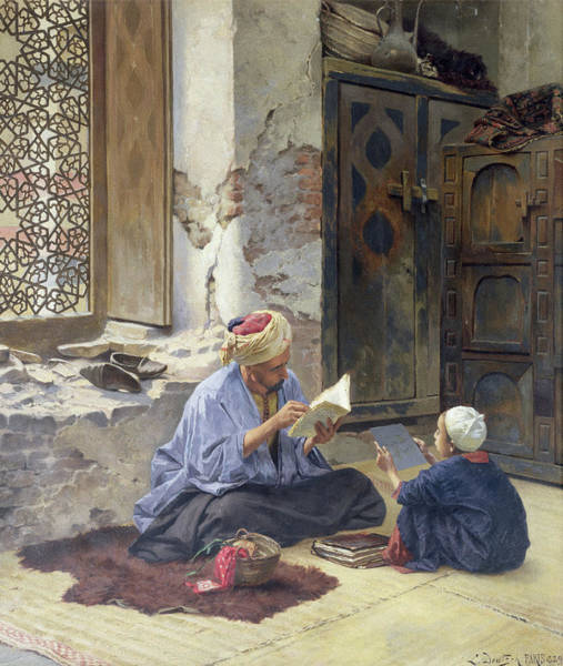 Wise Man Wall Art - Painting - An Arab Schoolmaster by Ludwig Deutsch