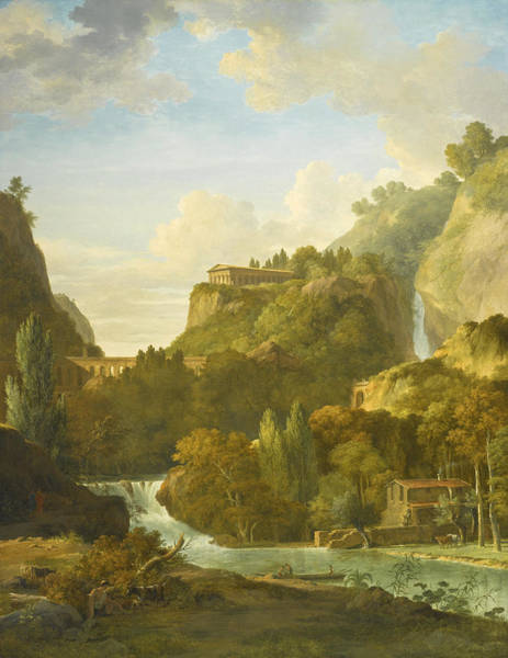 Wall Art - Painting - An Arcadian Landscape With A Classical Temple And Aqueduct by Pierre-Henri de Valenciennes