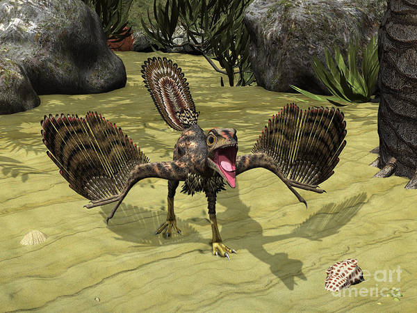 Paleobotany Digital Art - An Archaeopteryx Depicted by Walter Myers