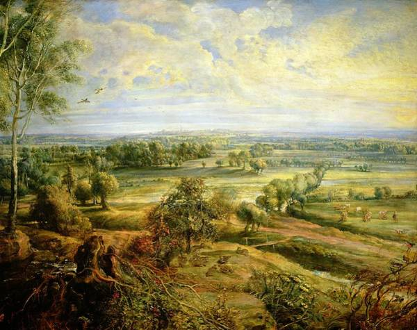 Distant Trees Wall Art - Painting - An Autumn Landscape With A View Of Het Steen In The Early Morning by Rubens