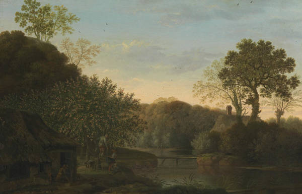 Wall Art - Painting - An Autumn Landscape With Apple Pickers by George Smith