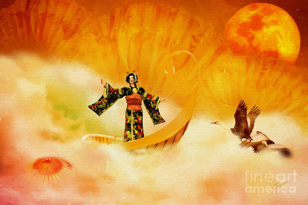 Geisha Mixed Media - An Autumn Song by Olga Hamilton
