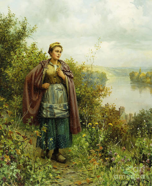 Stroll Painting - An Autumn Stroll  by Daniel Ridgway Knight