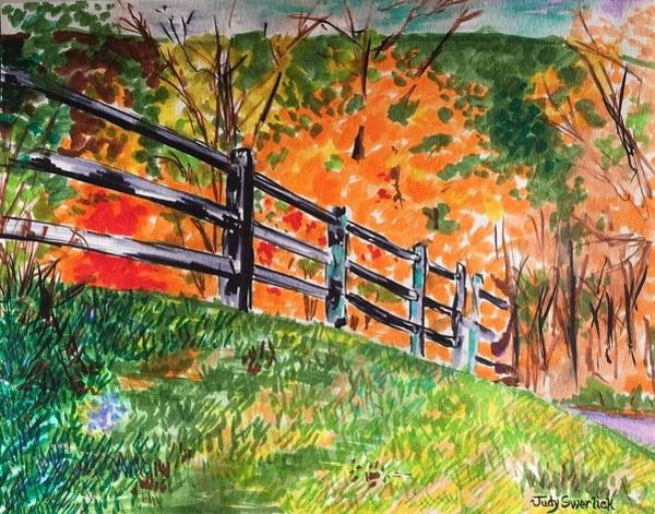 Wall Art - Painting - An Autumn Stroll In The Woods by Judy Swerlick