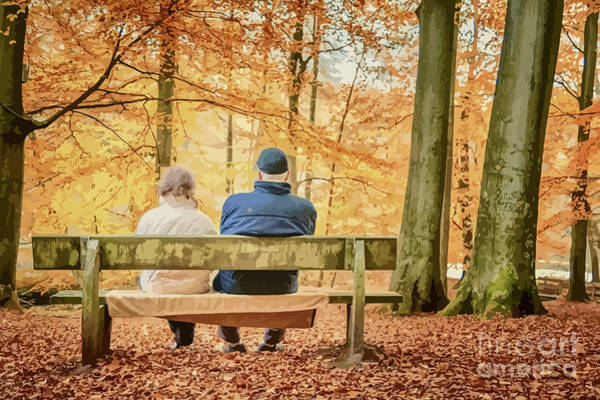 Park Bench Mixed Media - An Autumnal Couple by Clive Littin