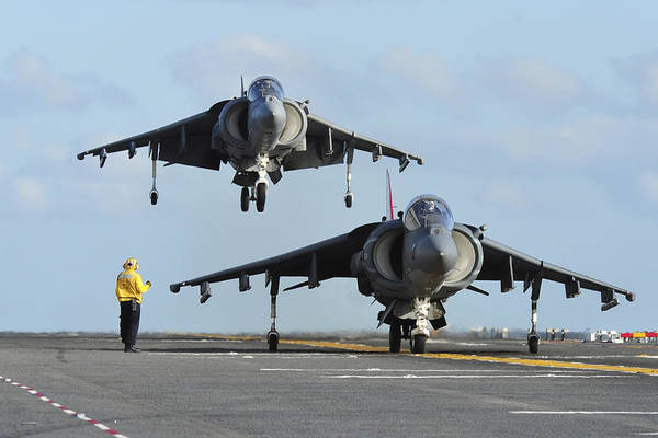 Flight Deck Photograph - An Av-8b Harrier Prepares For Takeoff by Stocktrek Images