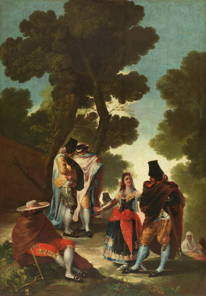 Perfect Body Painting - An Avenue In Andalusia Or The Maja And The Cloaked Men by Francisco de Goya