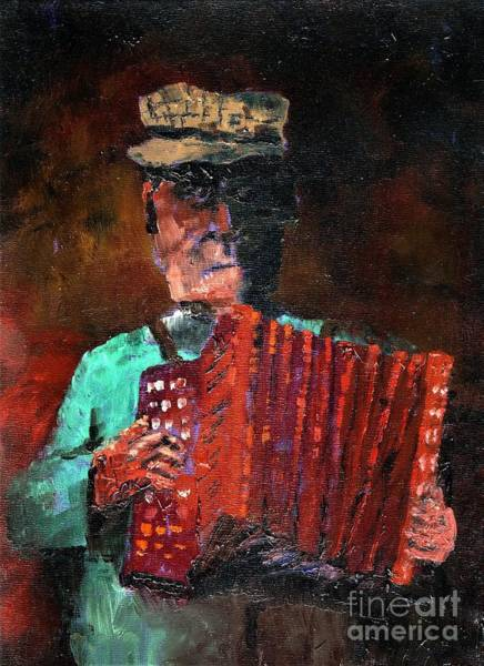 Painting - An Bosca Ceol....irish Squeeze Box. by Val Byrne