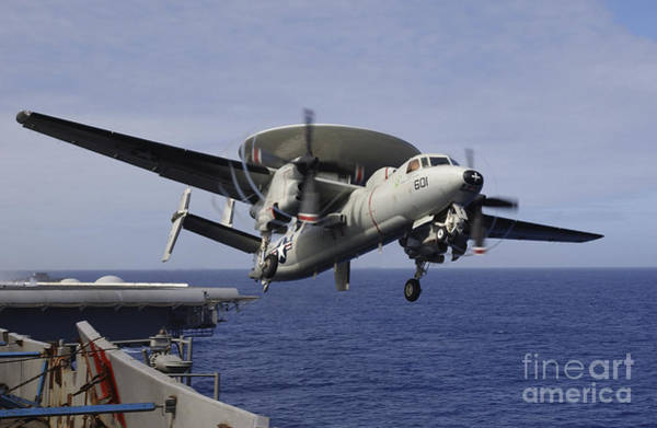 Flight Deck Photograph - An E-2c Hawkeye Launches From Uss Kitty by Stocktrek Images