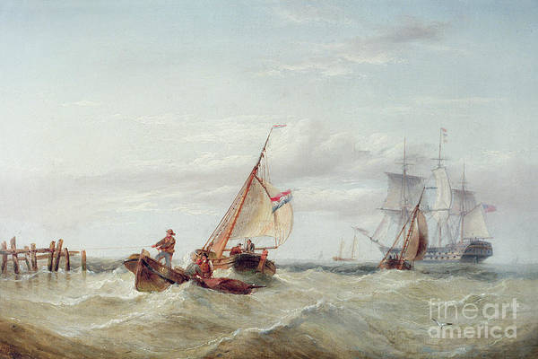 Wall Art - Painting - An East Indiaman And Other Shipping Off The Coast by Henry Redmore