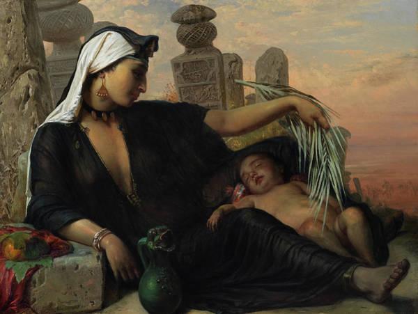 Bulrush Wall Art - Painting - An Egyptian Fellah Woman With Her Baby by Elisabeth Maria Anna Jerichau-Baumann