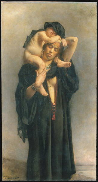 Wall Art - Painting - An Egyptian Peasant Woman And Her Child by Leon Bonnat