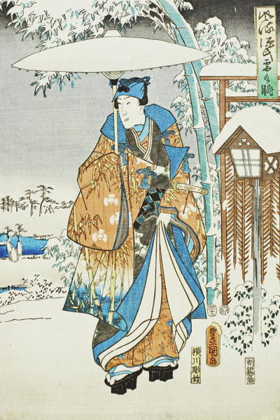 Kansai Painting - An Elegant Genji In Snow by Utagawa Toyokuni