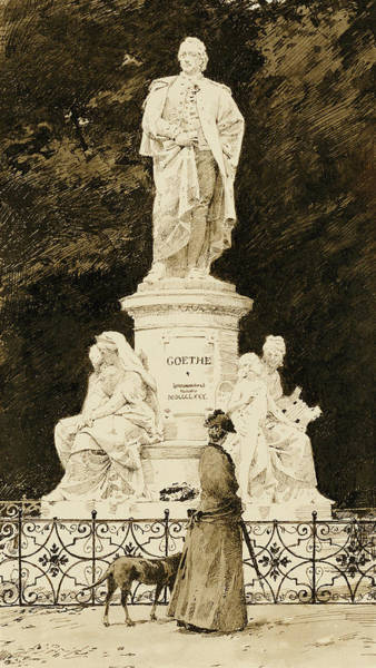 Hound Drawing - An Elegant Lady At The Statue Of Goethe by Paul Fischer