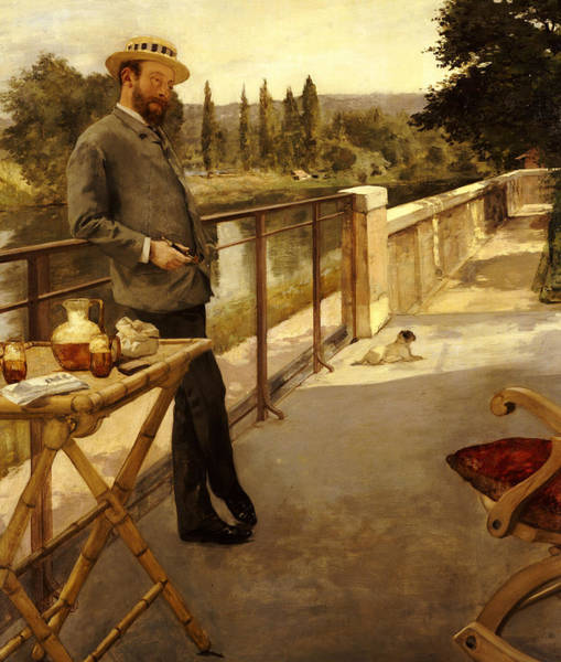 Wall Paper Painting - An Elegant Man On A Terrace by Henri Gervex