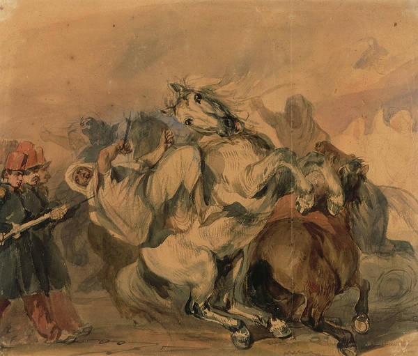 Wall Art - Painting - An Encounter Of The French Infantry With Arab Cavalry by Eastern Accent