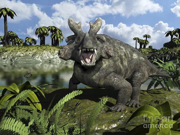 Paleobotany Digital Art - An Estemmenosuchus Mirabilis Stands by Walter Myers