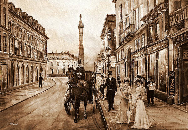 Wall Art - Painting - An Evening Out Sepia by Andrew Read