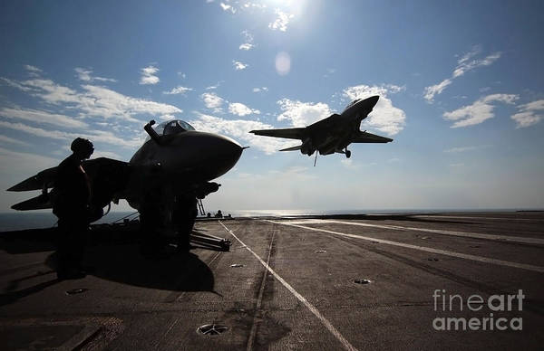 Flight Deck Photograph - An F-14d Tomcat Prepares To Make An by Stocktrek Images