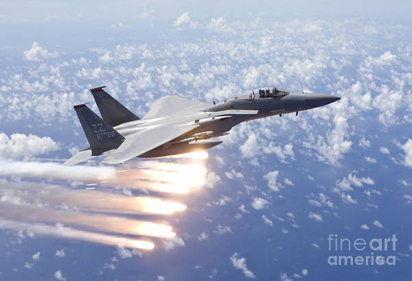 Armament Photograph - An F-15 Eagle Releases Flares by HIGH-G Productions