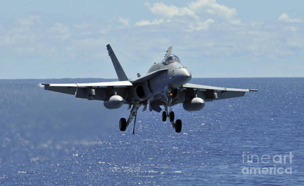 Landing Gear Photograph - An Fa-18c Hornet Approaches The Flight by Stocktrek Images