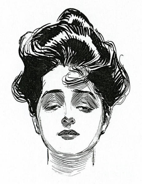Attractive Drawing - An Iconic Gibson Girl Portrait  by Charles Dana Gibson