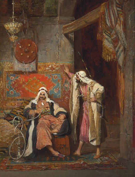 Wall Art - Painting - An Idle Conversation, 1872 by Arnold Corrodi