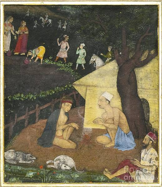 Painting - An Illustration Depicting Three Holy Men In Conversation At Night by Celestial Images