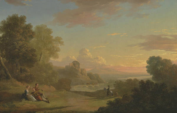 Painting - An Imaginary Landscape With A Traveller And Figures Overlooking The Bay Of Baiae by Thomas Jones