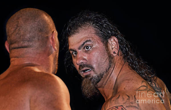 Pro Wrestler Wall Art - Photograph - An Intense Exchange Between Sledge And M P T  by Jim Fitzpatrick