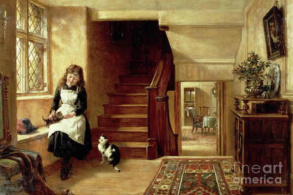 Kitten Play Wall Art - Painting - An Interior With A Girl Playing With Cats  by Robert Collinson