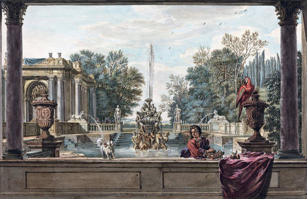 Painting - An Italianate Garden With A Parrot, A Poodle, And A Man by Isaac de Moucheron