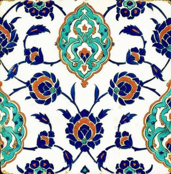 Seamless Painting - An Iznik Polychrome Tile, Turkey, Circa 1575, By Adam Asar, No 23h by Adam Asar