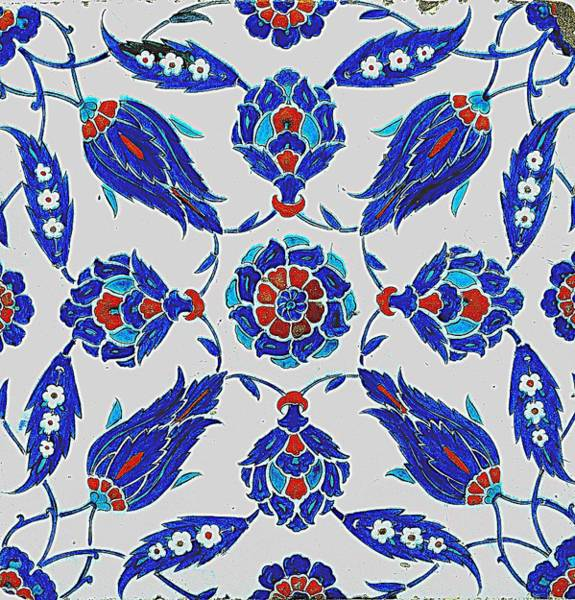 Seamless Painting - An Iznik Polychrome Tile, Turkey, Circa 1575, By Adam Asar, No 24s by Adam Asar