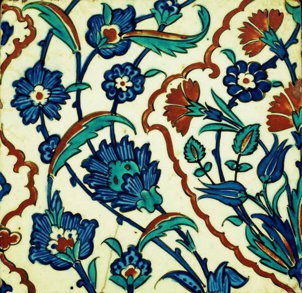Seamless Painting - An Iznik Polychrome Tile, Turkey, Circa 1575, By Adam Asar, No 29f by Adam Asar