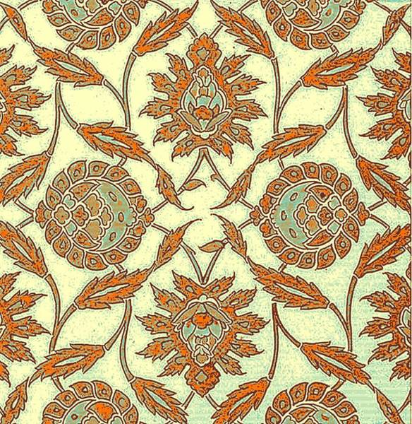 Seamless Painting - An Iznik Polychrome Tile, Turkey, Circa 1575, By Adam Asar, No 34 by Adam Asar